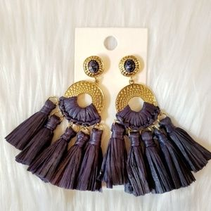 Express Navy Blue and Gold Tassel Earrings